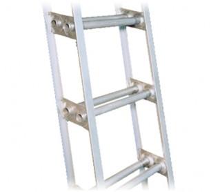 12' Aluminum Double Rung Marine Ladder w/ Handrail
