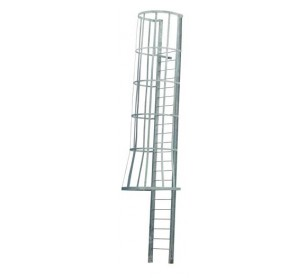 Mill Steel Caged Fixed Ladder w/ Flared Top