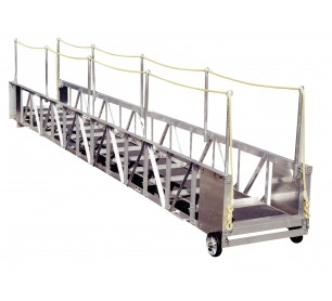 30' Aluminum Straight Truss Gangway with Aluminum Handrails and Cleats