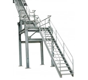 "Carbis 99"" Aluminum Industrial Stair Unit w/ Slip-Resistant Treads"