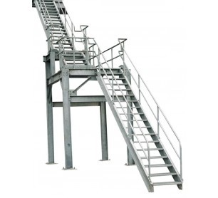 Genial Galvanized Steel Industrial Stair Unit W/ Bar Grating Tread