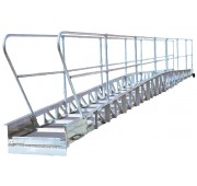 35' Aluminum Bowed Truss Gangway with Yellow Poly Rope Handrail