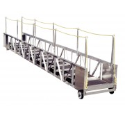 35' Aluminum Straight Truss Gangway with Rope Handrails and Curved Treads